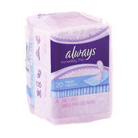 Always Incredibly Thin Daily Liners Regular - 20 CT