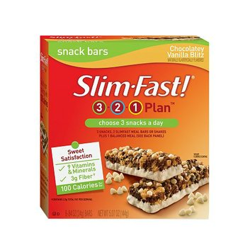 Slim-Fast 3-2-1 Plan 100 Calorie Snack Bars 6-Pack Chocolatey Vanilla