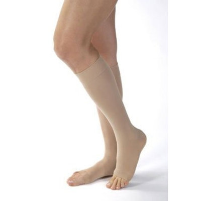 Jobst Women's Opaque 15-20 mmHg Open Toe Knee High Support Stocking Size: Large, Color: Natural