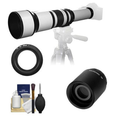 Samyang 650-1300mm f/8-16 Telephoto Lens (White) (T Mount) with 2x Teleconverter (=2600mm) + Cleaning Kit for Nikon 1 J1, J2 & V1 Digital Cameras