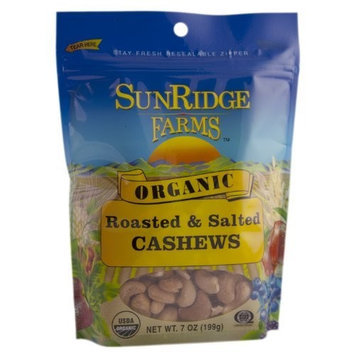 Sunridge Farms Organic Roasted Salted Cashews, 7-Ounce Bags (Pack of 6)