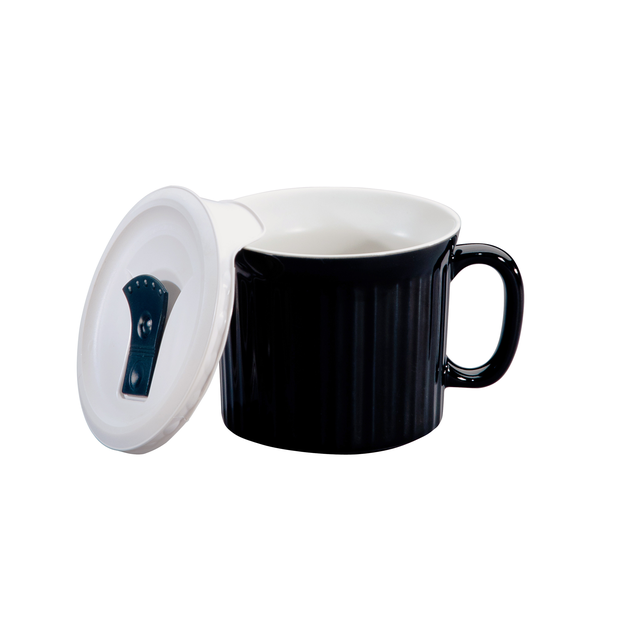 World Kitchen CorningWare French White 20 Ounce Pop-Ins Soup Mug - Black