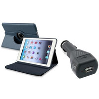 Insten iPad Mini 3/2/1 Case, by INSTEN Navy Blue 360 Degree Leather Case Stand for iPad Mini 3 1 2+Car Charger