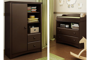Southshore Angel Changing Table and Armoire with Drawers, Espresso