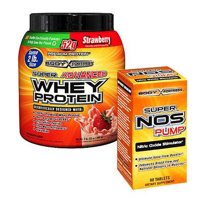 Body Fortress Super Advanced 2lb Strawberry Whey Protein Powder + 90ct Super Nos Pump Nitric Oxide Stimulator Bundle