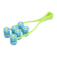 Handheld Y Shaped Blue Green Plastic Floral 12 Roller Face Up Massager