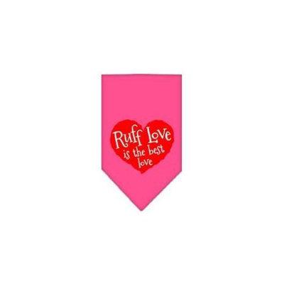 Ahi Ruff Love Screen Print Bandana Bright Pink Large