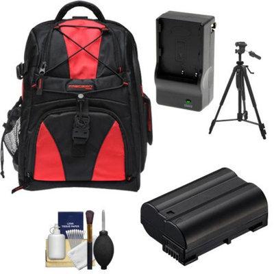 Precision Design Multi-Use Laptop/Tablet Digital SLR Camera Backpack Case (Black/Red) with EN-EL15 Battery & Charger + Tripod + Accessory Kit for Nikon D7000, D600, D800 & D800E