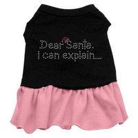 Mirage Pet Products 58-25 XSBKPK Dear Santa Rhinestone Dress Black with Pink XS - 8