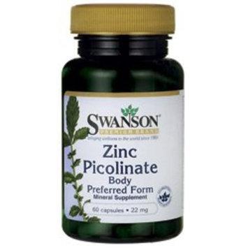 Swanson Premium Zinc Picolinate Body Preferred Form 22 mg 60 Caps