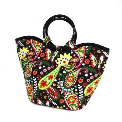 Fit & Fresh Nantucket Insulated Designer Lunch Bag with Ice Pack, Bright Paisley Pattern