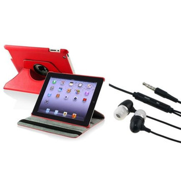 Insten INSTEN Red For Apple iPad 4 4G Gen 3 3rd 2 2nd 360 Rotating Leather Case+Headset
