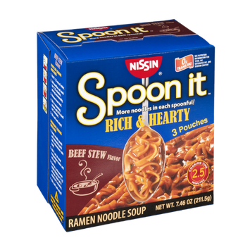 Nissin Spoon it Rich & Hearty Beef Stew Flavor Ramen Noodle Soup