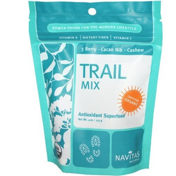 Navitas Naturals Organic Trail Mix Blend 3 Berry Cacao Nibs and Cashews -- 4 oz