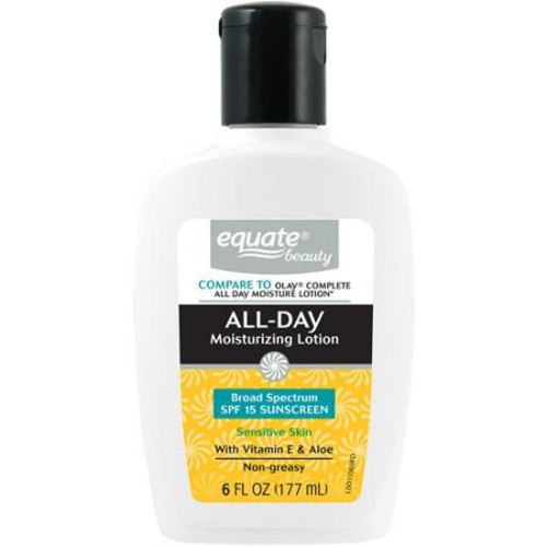 Equate Beauty Sensitive Skin All-Day Moisturizing Lotion with Sunscreen, 6 fl oz