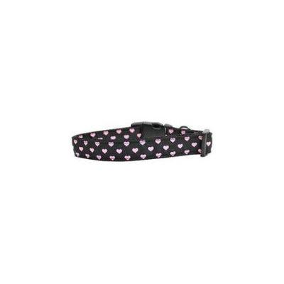 Ahi Pink and Black Dotty Hearts Nylon Dog Collars Medium