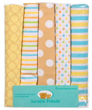 Luvable Friends Pattern Plus 5-Pack Receiving Blankets