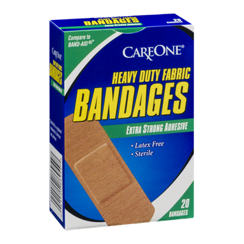 CareOne Heavy Duty Fabric Bandages with Extra Strong Adhesive - 20 CT