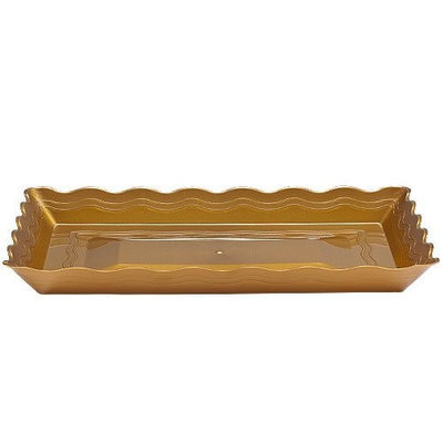 Party Dimensions 62927 12 in. x 18 in. Gold Rectangular Trays Platter - 25 Per Case