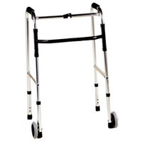 ITA-MED Deluxe 1-inch Folding Walker with 5-inch Wheels and 2 Buttons