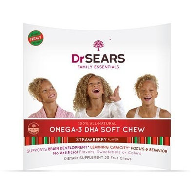 Dr Sears Dr. Sears Go Fish Brainy Kidz Omega-3 DHA Soft Chews, Strawberry, 60-Count Box