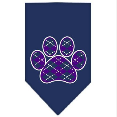 Mirage Pet Products 66-110 LGNB Argyle Paw Purple Screen Print Bandana Navy Blue large