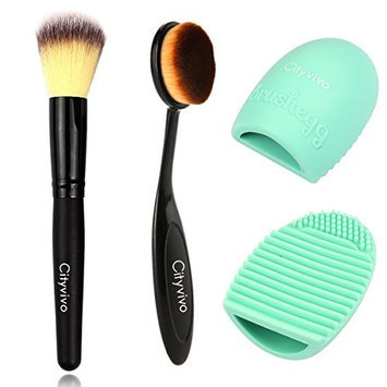 Cityvivo 3 Pieces Makeup Brush Set, Pro Cosmetic Makeup Face Cream Powder Blush Toothbrush Curve Foundation Brush & Cleaning Glove MakeUp Washing Brush