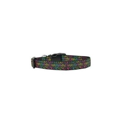 Ahi Happy Birthday Nylon Dog Collar Medium