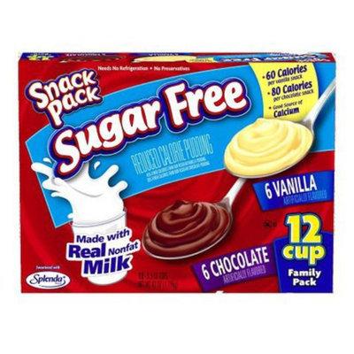 Hunts Snack Pack Chocolate Vanilla No Sugar Added 12-pk.
