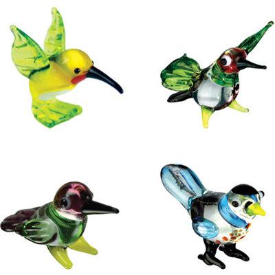 BrainStorm Looking Glass Miniature Glass Figurines, 4-Pack, Melissa Hummingbird/Blurr Hummingbird/Flirt Hummingbird/BooBoo Bull Finch