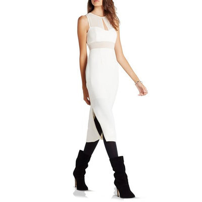 BCBGeneration Sleeveless Illusion Neck Midi Dress