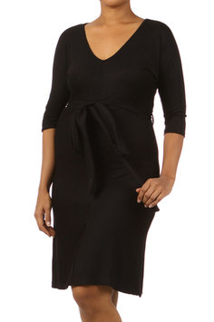 Plus Size A-line Belted Maternity Dress - Online Exclusive