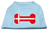 Mirage Pet Products 5112 XXLBBL Bone Shaped Denmark Flag Screen Print Shirts Baby Blue XXL 18