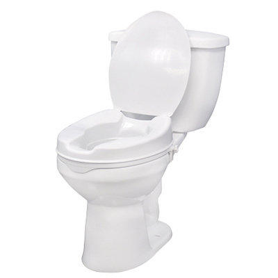 Drive Medical Raised Toilet Seat with Lock and Lid, 4 Inch, 1 ea
