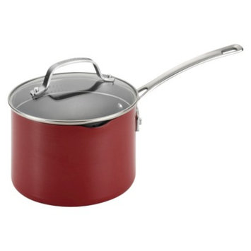 Circulon Genesis Aluminum 3 Quart Covered Straining Saucepan - Red