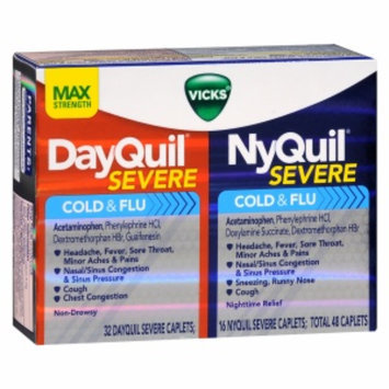 Vicks Dayquil Nyquil Severe Cold & Flu Relief Combo Pack, Caplets, 48 ea