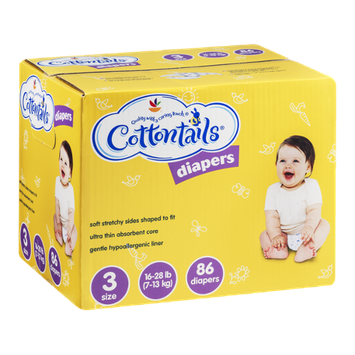 Cottontails Size 3 Diapers (16-28 lb) - 86 CT
