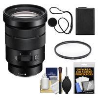 Sony Alpha NEX E-Mount 18-105mm f/4.0 OSS PZ Zoom Lens with Battery + UV Filter + Kit for A7, A7R, A7S, A3000, A5000, A5100, A6000 Cameras