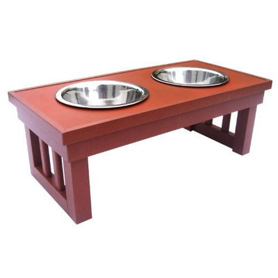 Newagepet AgePet Indoor/Outdoor Raised 2-Bowl Pet Diner, Small, Chestnut