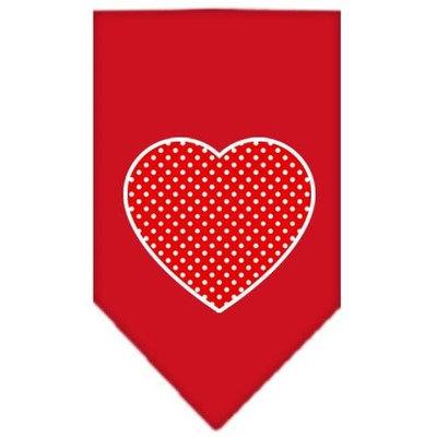 Mirage Pet Products 66-103 SMRD Red Swiss Dot Heart Screen Print Bandana Red Small