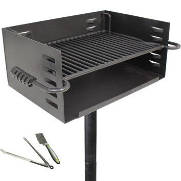 Titan Distributors Titan Single Post JUMBO Park Grill Charcoal Outdoor Heavy Duty Cooking Camp