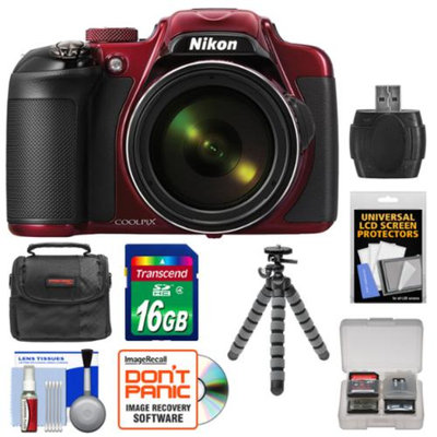 Nikon Coolpix P600 Wi-Fi Digital Camera (Red) with 16GB Card + Case + Flex Tripod + Accessory Kit