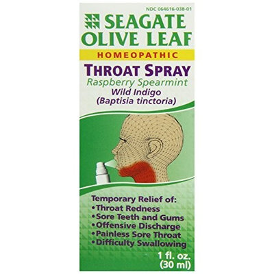 Seagate Products Olive Leaf Homeopathic Throat Spray 1 oz Raspberry-Spearmint, 1-Pack