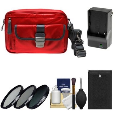 Nikon 1 Series Deluxe Digital Camera Case (Red) with EN-EL20 Battery & Charger + 3 UV/CPL/ND8 Filters + Cleaning Kit for J1, J2, J3, S1, AW1