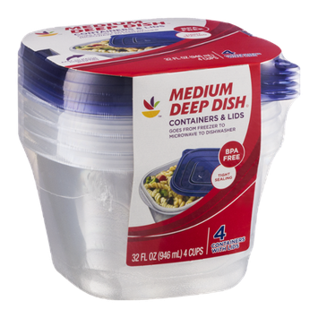 Ahold Medium Deep Dish Containers & Lids - 4 CT