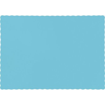 Party Central Pack of 50 Solid Pastel Blue Scalloped Edge Disposable Table Placemats 13.5