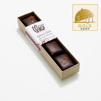 Theo Chocolate Chocolate Salted Caramel Ghost Chile 4 piece box