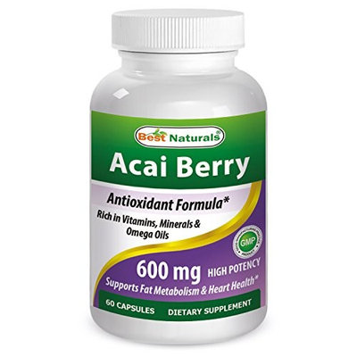 #1 Acai Berry 1200mg per Serving by Best Naturals -- 100% Pure High Potency -- Supports Fat Metabolism -- Manufactured in a USA Based GMP Certified Facility and Third Party Tested for Purity. Guaranteed!!