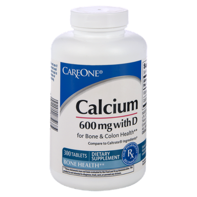 CareOne Calcium 600mg with D for Bone & Colon Health