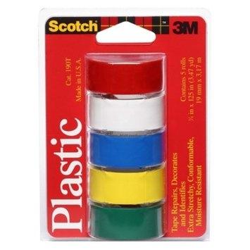 3M Scotch Assorted Colors Plastic Tape Rolls 5-ct.